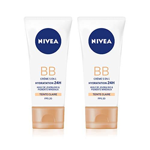 NIVEA Essentials BB Cream Hydratation 24H +Éclat (2 x 50 ml), Crème hydratante visage teinte Claire, Soin femme à l'huile de Jojoba BIO, Soin de jour FPS 15