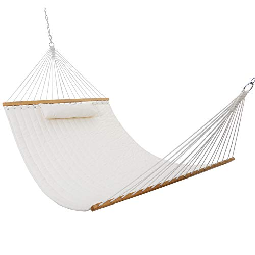 """SUPER DEAL Extra Large Hammock with Pillow UV-Resistance 2-Person Quilted Fabric Swing with Solid Wood Spreader & Chains, 78"""" x 54.3"""" Beige"""