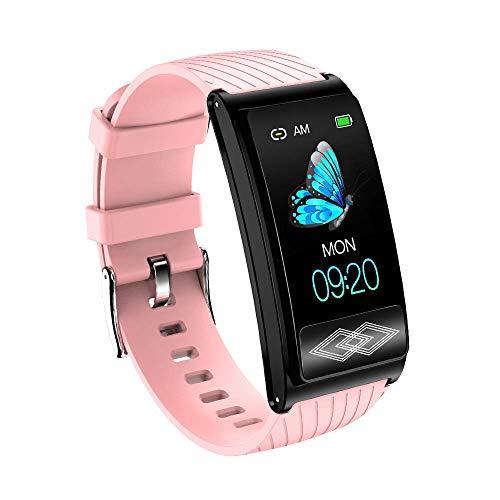 LCTS Bluetooth Sport-Armband-Farbe Bildschirm Intelligente Uhr, Ambulante 24-Stunden-EKG-Überwachung, Herzfrequenz Druck Blutsauerstoff Health Monitoring,Rosa
