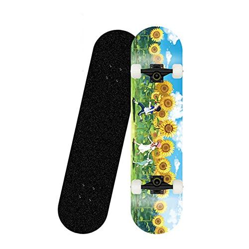 31 Zoll Skateboards Komplett Board, Holzboard aus 8 Schichten Ahornholz, Skateboard für Jugendliche, Erwachsene, Anfänger-Skateboard