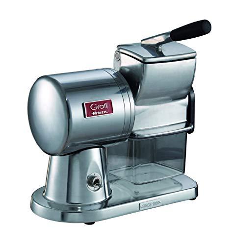 Ariete 449 Gratì Superior - Grattugia Elettrica Professionale in alluminio pressofuso per formaggio, pane, cioccolata, frutta secca, 350 watt - Argento Spazzolato Lucido