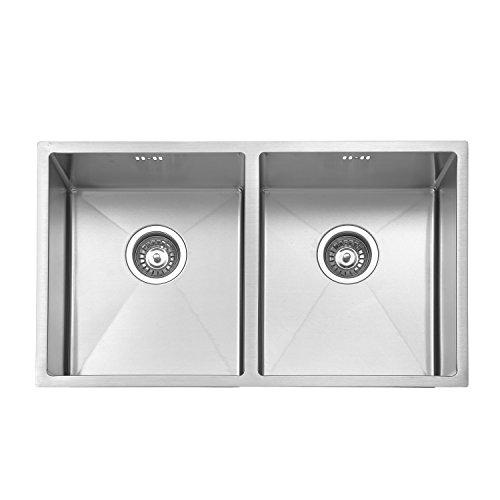 Jass Ferry Premium fatto a mano in 1.2mm spessore, montaggio a incasso quadrato in acciaio INOX per lavello da cucina doppio due 2.0ciotola senza foro rubinetto 745x 440mm–10anni di garanzia