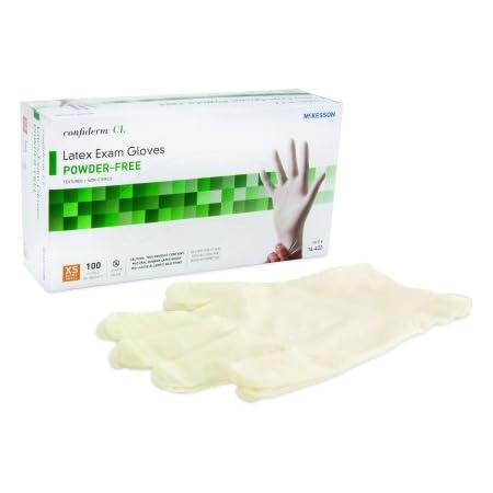 McKesson 14-428 Confiderm Latex Powder-Free Exam Glove, Non-Sterile, Large, 100 per Box