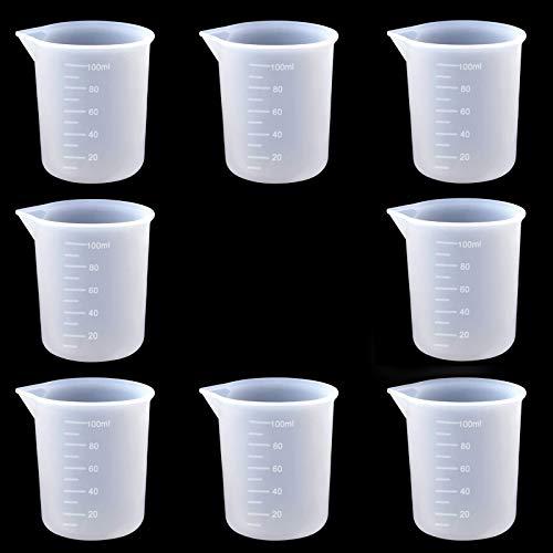 8pcs Vasos Medidores de Silicona, Vasos de Silicona de 100 ml para Resina, Vaso Medidor Reutilizable Antiadherentes, Vasos Medidores de Silicona para Manualidades,Resina Epoxi,Moldes