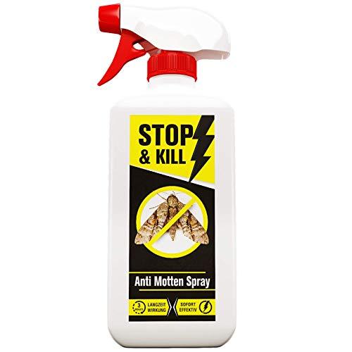 STOP & KILL Anti Motten Spray 500ml | Sofort- & Langzeitschutz für Kleiderschrank, Kleider, Teppich & Küche | Alternative zu Mottenpapier, Mottenfalle & Mottenkugeln | Geruchlos & Auf Wasserbasis
