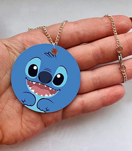Blue Stitch Lilo Alien Experiment 626 Circle 50mm Pendant Charm Aesthetic Tibetan Necklace baby Girl Chain Pendant Charm Y2K Kawaii Cute Japanese Art Hoe Culture Harajuku Vintage Retro KPOP