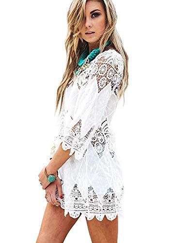 Women's Fashion Swimwear Crochet Tunic Bikini Swimsuit Cover Up/Beach Dress… (B White, One Size fits US S-XL)