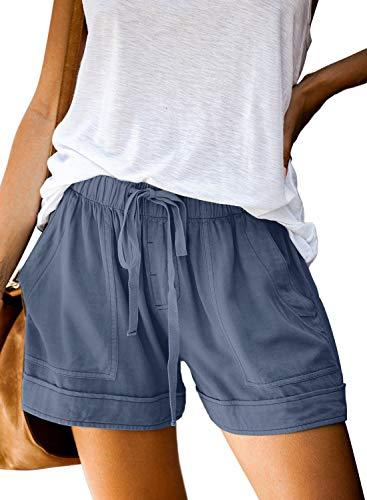 Elapsy Womens Ladies Drawstring Shorts Loose Elegant Elastic Waist Solid Pocketed Midi Rise Loose Shorts Pants Outerwear Boho Shorts Junior Clothes for Teen Blue XX-Large