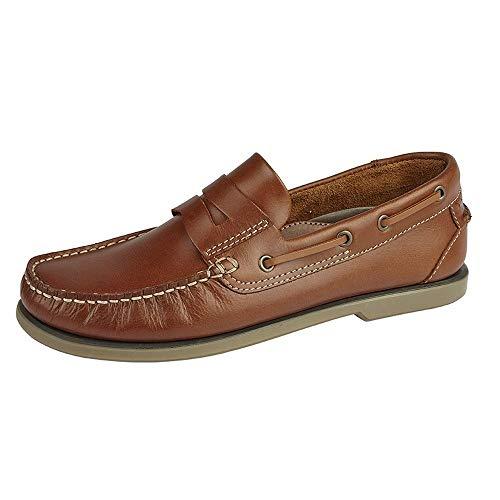 Dek Puerto Cuero Hombre Mocasin Zapatos Náuticos Tostado Dorado - Tostado Dorado, 10 UK