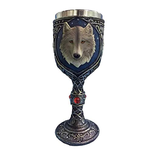 BESPORTBLE Copa de Vino de Lobo Copa de Vidrio de Cáliz de Vino Copa de Vino de Acero Inoxidable Juego de Tronos Colecciones Suministros para Fiestas
