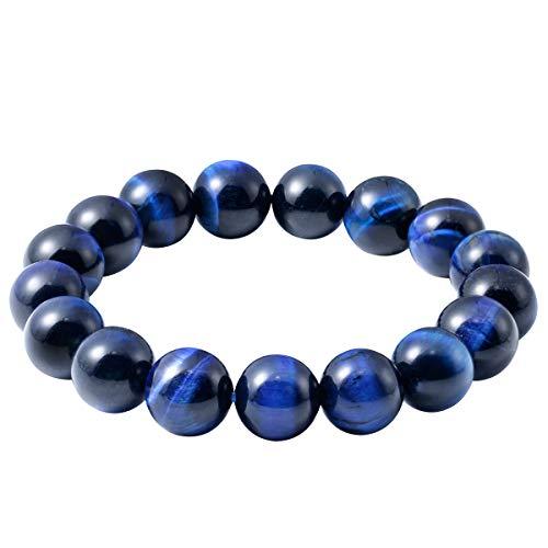 Jewever Original Natural Blue Tiger Eye Gemstone 12mm Smooth Round Beads Stretch Unisex