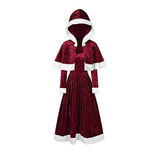 Dasongff Kerstkostuum voor dames, korte jurk en capuchon