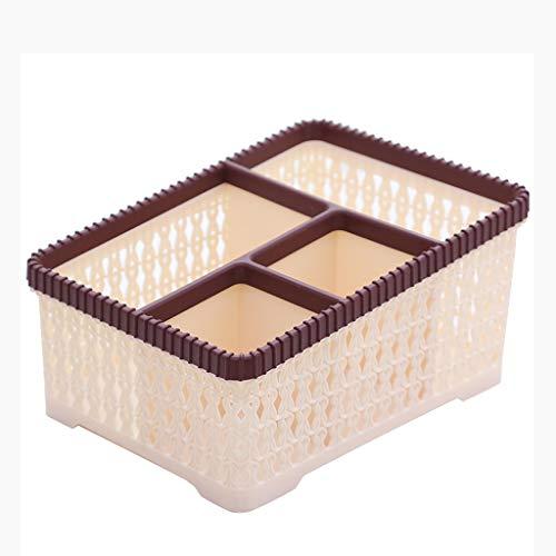 Plastique de rotin d'imitation de Bureau de boîte de Stockage cosmétique en Plastique sans Panier de Stockage de couvertures FANJIANI (Color : Brown)