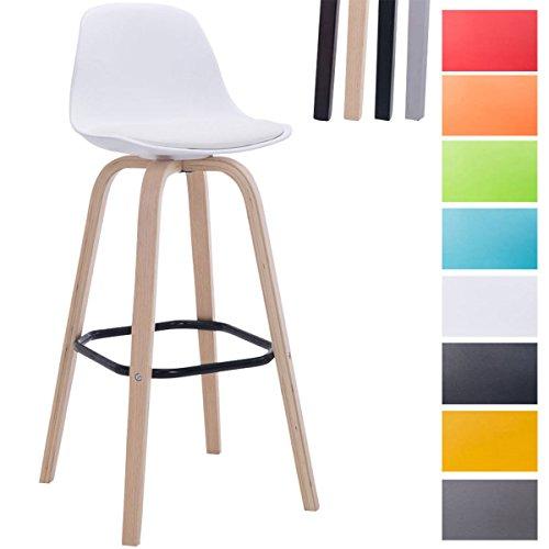 CLP Taburete Avika con Estructura de Plastico & Cojin en Cuero Sintetico I Taburete con Reposapies & Respaldo I Color: Blanco, Color soporte de madera: natural
