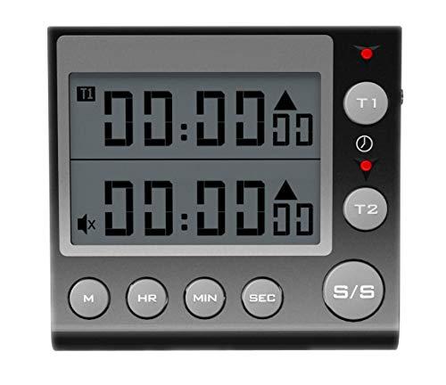Jayron Timer a 2 Canali con Orologio Timer da Cucina Timer per Conto alla Rovescia Magnetico Sveglia Digitale Orologio da Tavolo Orologio Elettrico Cronometro per Cucinare