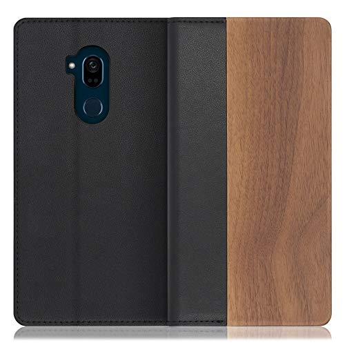 LOOF Nature Android One X5 ケース 手帳型 カバー 本革 天然木 ベルト無し ウッド 木製 木 カード収納 カードポケット 本革 高級 スタンド機能 手帳型ケース スマホケース (胡桃)