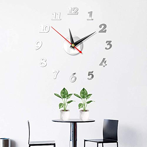 Huai1988 Reloj de pared, adhesivo de pared moderno 3D, acrílico, espejo de metal, sin marco, grande, para casa, cocina, salón, oficina, decoración DIY, reloj de pared, color plateado