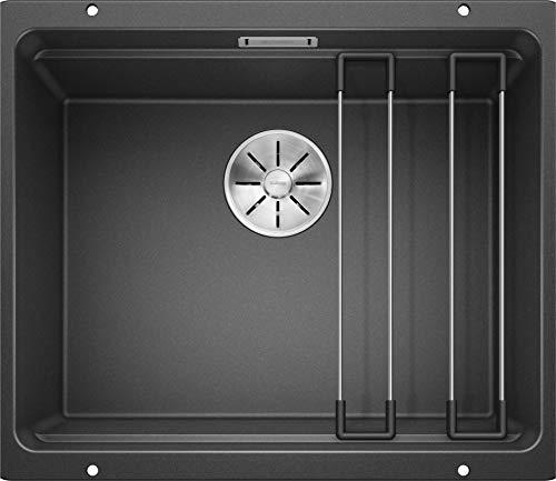 BLANCO ETAGON 500-U – Granitspüle für die Küche für 60 cm breite Unterschränke – Unterbau – aus SILGRANIT – Grau – 522227