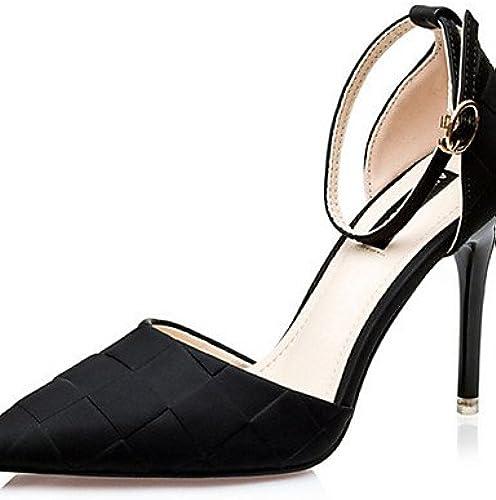 GGX  Chaussures Femme-Décontracté-Noir   Violet   Argent   Fuchsia-Talon Aiguille-Talons-Chaussures à Talons-Soie