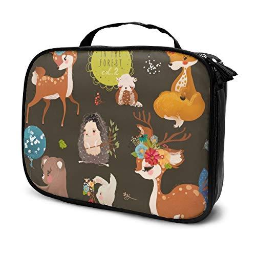 Sacs à cosmétiques pour les voyages des femmes, Cute Forest, Woodland Animals Collection. Étui à crayons bébé ours, renard et lapin