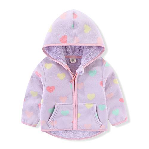 Toddler Kids Baby Girls Hooded Fleece Jacket Coat Valentine's Heart Long Sleeve Zipper Hoodies Sweatshirt Thick Warm Outerwear Autumn Winter Clothes Purple Heart 24 Months