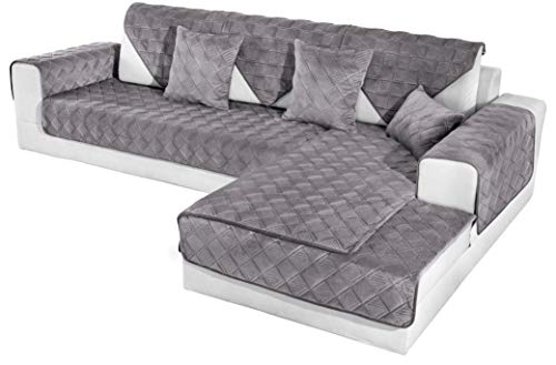 OstepDecor Couch Cover, Sofa Cover, Quilted Sectional Couch Covers, Velvet Sofa Slipcover for Dogs Cats Pet Love Seat Recliner Leather L Shaped, Armrest Backrest Cover, Dark Grey 36 x 94 Inches