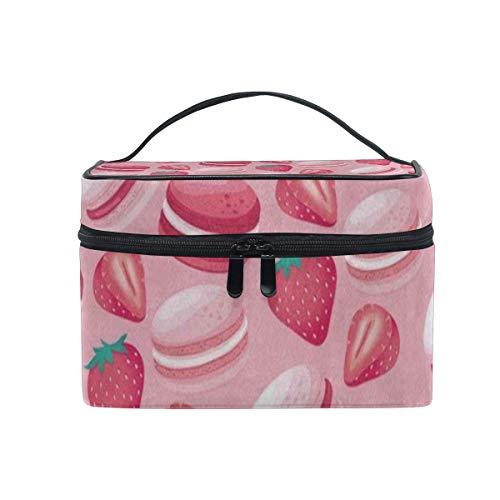 Trousse de maquillage Macaron rose Fraise Sac cosmétique Portable Grand trousse de toilette pour femmes/filles Voyage