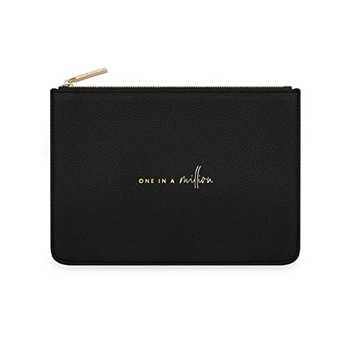Katie Loxton One In A Million Womens Structured Vegan Leather Fashion Pouch Clutch Bag Black