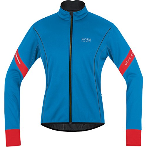 GORE BIKE WEAR Jacke Power 2.0 Soft Shell - Chaqueta de Ciclismo para Hombre, Color Azul/Rojo, Talla S