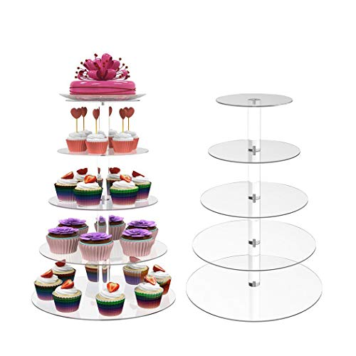 Winice New Round Crystal Clear Acrylic Cupcake Stand Wedding Display Cake Tower 5 Tier Ablauftrays für Lebensmittelschalen