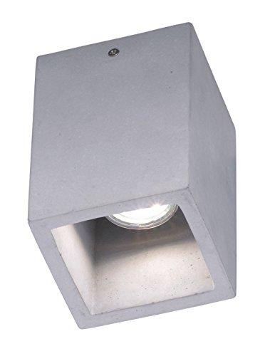 Trio Leuchten 606600178 Cube A++ to E, Deckenleuchte, GU10, betonfarbig, 10 x 10 x 15 cm