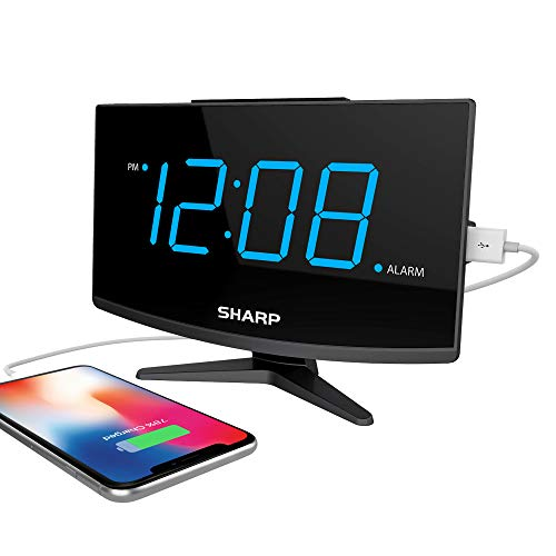 Sharp Digital Alarm Clock - Large Display with High/Low Brightness – Charge Phone with FastCharge 2 Amp Power Port for USB - Modern Design - Jumbo Blue LED Digit Display – Black