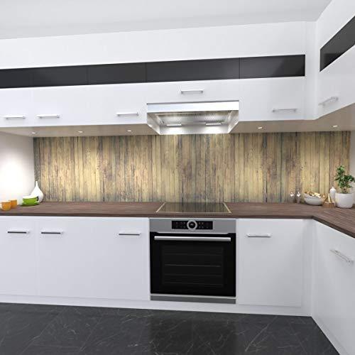 OneWheel   Küchenrückwand Premium 0,4 mm Hart PVC Spritzschutz - für Fliesenspiegel - Selbstklebende stabile Kunststofffolie   (Holz, Materialmuster DinA4)