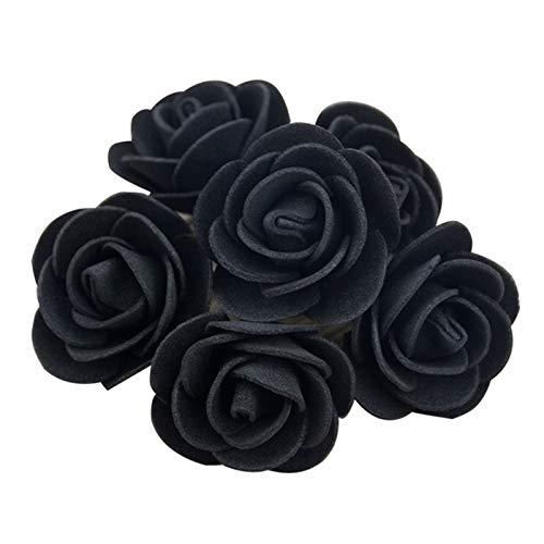 LUCHAO Künstliche Foam Rose Heads-Blume for DIY-Kranz-Startseite Hochzeit Dekoration Günstige Gefälschte Blume Handmade Zubehör (Farbe : Schwarz)