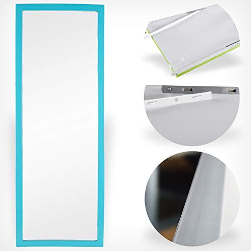 DRULINE Türspiegel 30 x 90 cm Türkis Wandspiegel Spiegel Garderobenspiegel Flurspiegel höhenverstellbarer Hängespiegel mit Haken