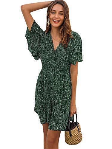 Romwe Women's Short Sleeve V Neck All Over Print High Waist A Line Summer Short Dress Green L