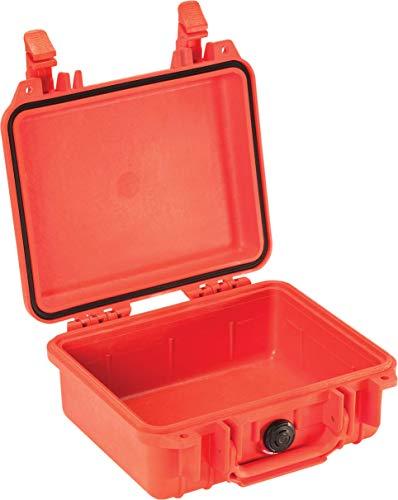 PELI Protector 1200 Maleta técnica profesional para equipos electrónicos, ópticos y fotográficos, IP67 estanca e impermeable al polvo, 4L de capacidad, fabricada en EE.UU., sin espuma, color naranja