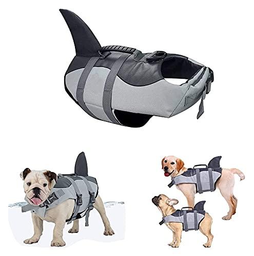 M3 Decorium Chaleco de natación para Mascotas Chaqueta de Salvavidas para Perros, Chaqueta de Vida de Perros, diseño liviano Ajustable, diseño de tiburón, natación, flotación, Chaleco (Color : L)