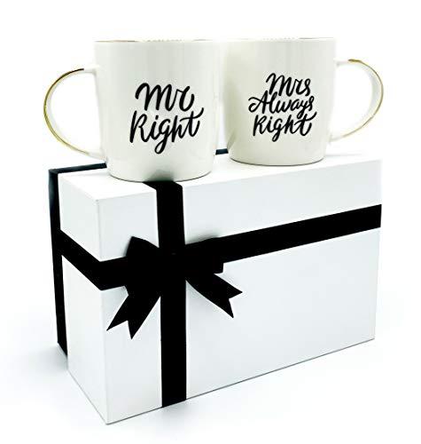 Gifffted Mr Right und Mrs Always Right Tassen Set für Sie und Ihn, Hochzeitsgeschenke für Brautpaar,Paar Geschenk, Braut und Bräutigam, Paare Lustig Weihnachten, Hochzeitstag, Hochzeit, Kaffeetasse