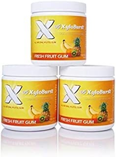 XyloBurst 100% Xylitol, Natural Chewing Gum 100 Count Jar Non GMO, Vegan, Aspartame Free, Sugar Free (Fruit, 3 Pack)