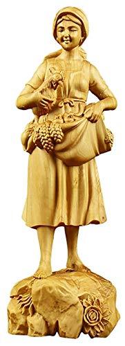 GAOYINMEI Escultura de escritorio Estatua de belleza moderna escultura hecha a mano boj talla madera artesanía modelo estatuas Accesorios para el hogar Sala coleccionables Figuras