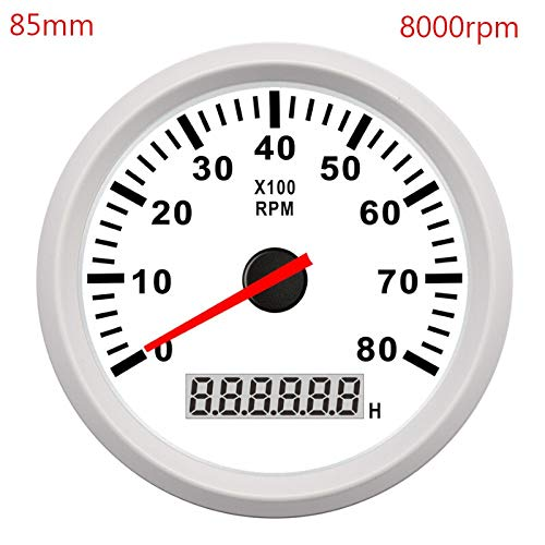 Odometer Spur 52mm / 85mm Boot Tachometer Marine-Auto Tacho Meter LCD Digital Red Light 0-9990 RPM Lap Timer Betriebsstundenzähler 12 / 24V ZHQHYQHHX (Color : White 8000 RPM, Size : Kostenlos)