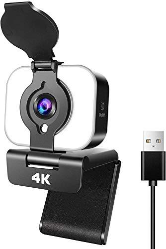 Sunscien 4k Webcam mit Mikrofon Ringleuchte und Sichtschutz