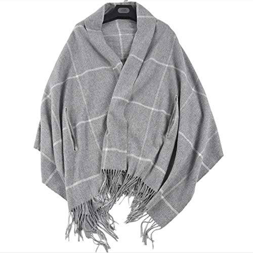 Shawl Wraps For Women100% Lamb Wool Thicken Plaid Big Shawl Women Stole Pashmina-04_194*80Cm