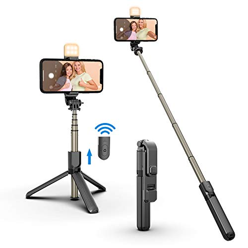 Selfie Stick LED Light with Tripod Stand & Phone Holder & Bluetooth Remote, Rechargeable Dimmable Selfie Light for Live Streaming & Makeup, YouTube Video, Photography, Compatible with iOS/Android