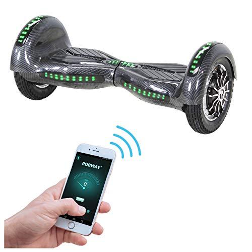 Robway W3 Hoverboard - Das Original - Samsung Marken Akku - Self Balance - 22 Farben - Bluetooth - 2 x 400 Watt Motor - 10 Zoll Luftreifen (Carbon)