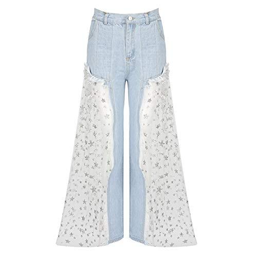 Jeans de Encaje con Estampado de Estrellas de Encaje para Mujer Pantalones de Encaje de Tul con Empalme Pantalones de botón de Cintura Alta Pantalones Anchos Transparentes S-XL