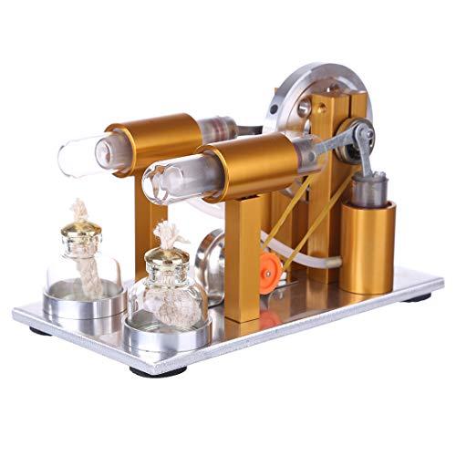 Oeasy Stirlingmotor Bausatz, 2 Zylinder Metall Stirling Motor Generator Modell Stromgenerator Motor, Physisches Experiment Geschenk für Technikbegeisterte und Kinder