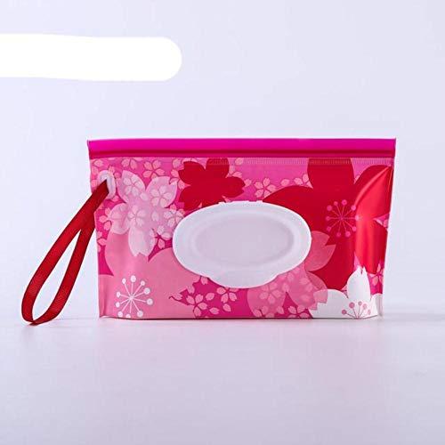 OBOYGANGNQE Caja de toallitas húmedas portátiles para bebés Contenedor de toallitas Ecológico Fácil de Transportar Concha de almeja Estuches de toallitas de Limpieza cosmética-Flor roja