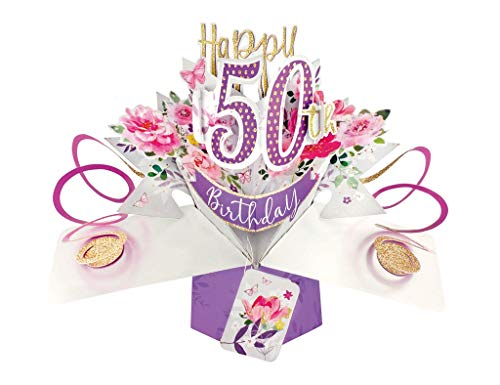 Second Nature 50th Birthday Flowers Pop Up Greeting Card - POP191